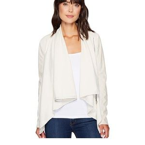 BlankNYC Beige Leather Sleeve Draped Jacket